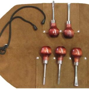 wood carving set with leather tool roll at UJ Ramelson for wood crafting