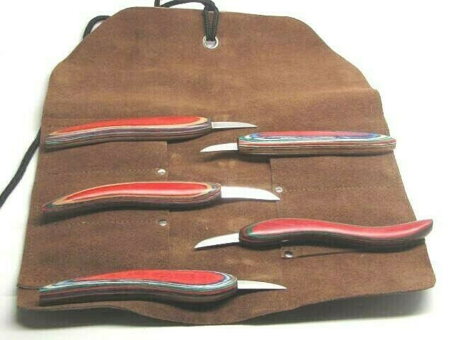 Five-piece wood chip carving knife set from UJ Ramelson